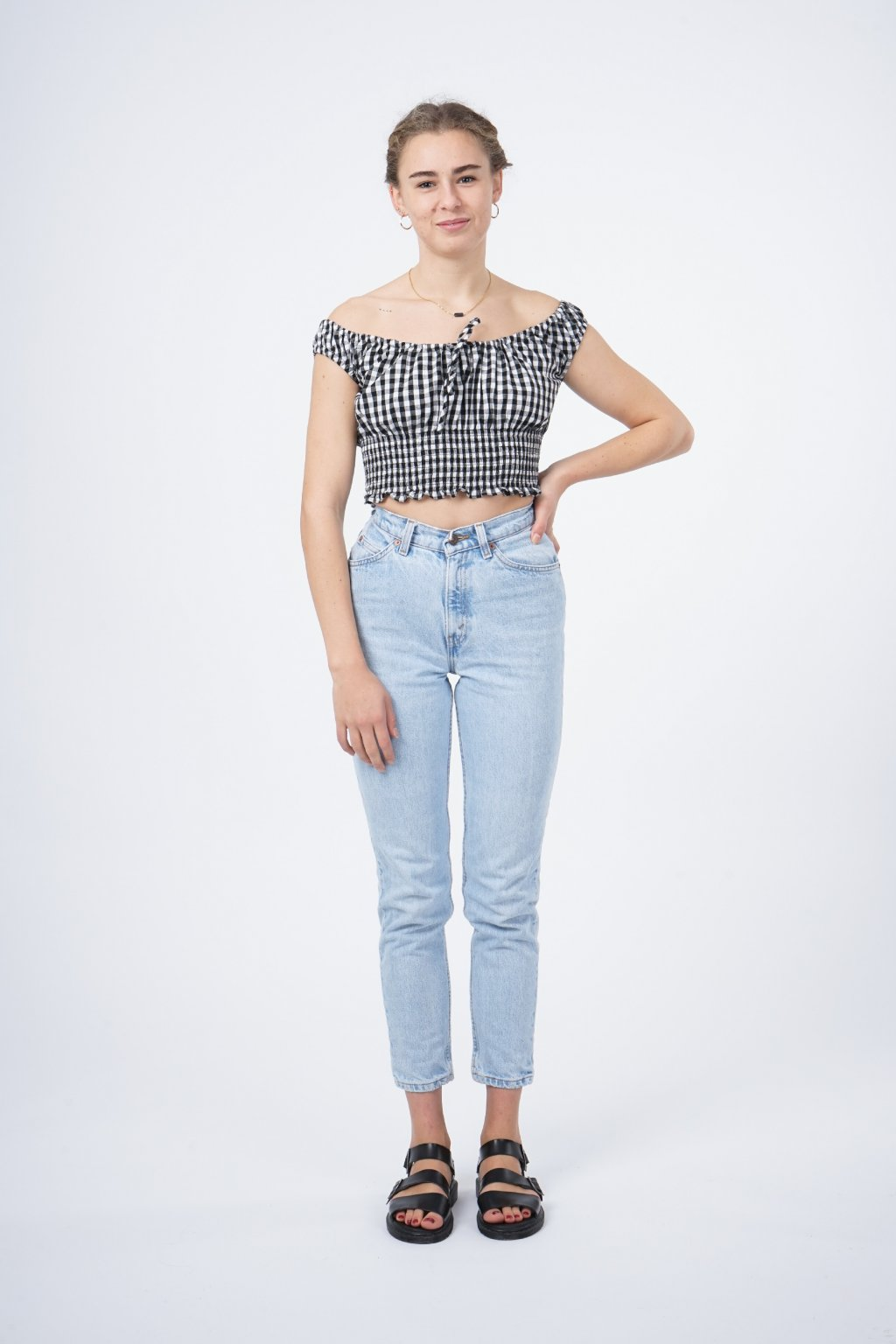 Checked crop top
